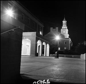 Primary view of object titled '[Student Union and Administration Building at night seen from the east]'.