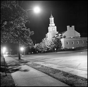 Primary view of object titled '[Administration Building from the northwest at night]'.