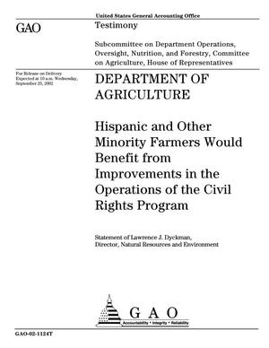 Primary view of object titled 'Department of Agriculture: Hispanic and Other Minority Farmers Would Benefit from Improvements in the Operations of the Civil Rights Program'.