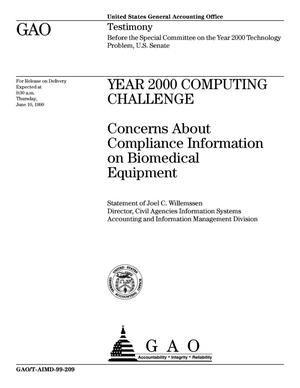 Primary view of object titled 'Year 2000 Computing Challenge: Concerns About Compliance Information on Biomedical Equipment'.