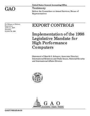 Primary view of object titled 'Export Controls: Implementation of the 1998 Legislative Mandate for High Performance Computers'.