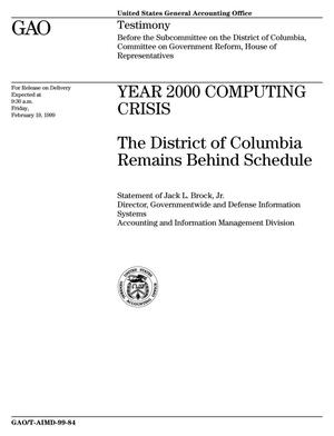 Primary view of object titled 'Year 2000 Computing Crisis: The District of Columbia Remains Behind Schedule'.