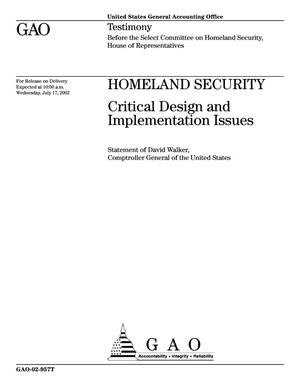 Primary view of object titled 'Homeland Security: Critical Design and Implementation Issues'.