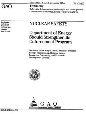 Primary view of object titled 'Nuclear Safety: Department of Energy Should Strengthen Its Enforcement Program'.