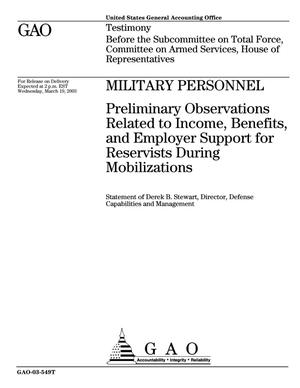 Primary view of object titled 'Military Personnel: Preliminary Observations Related to Income, Benefits, and Employer Support for Reservists During Mobilizations'.