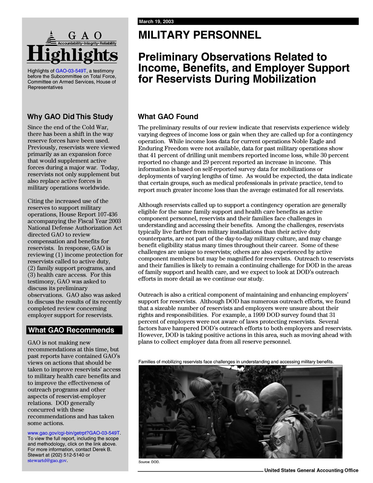 Military Personnel: Preliminary Observations Related to Income, Benefits, and Employer Support for Reservists During Mobilizations                                                                                                      [Sequence #]: 2 of 22