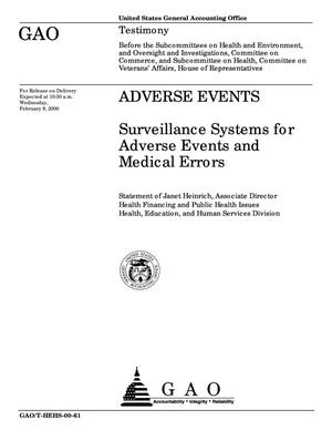 Primary view of object titled 'Adverse Events: Surveillance Systems for Adverse Events and Medical Errors'.