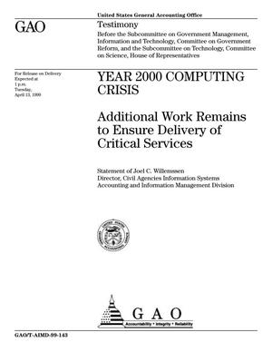 Primary view of object titled 'Year 2000 Computing Crisis: Additional Work Remains to Ensure Delivery of Critical Services'.