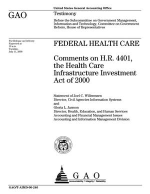Primary view of object titled 'Federal Health Care: Comments on H.R. 4401, the Health Care Infrastructure Investment Act of 2000'.