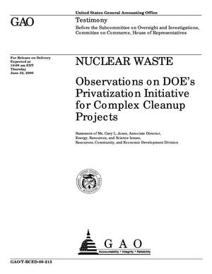 Primary view of object titled 'Nuclear Waste: Observations on DOE's Privatization Initiative for Complex Cleanup Projects'.