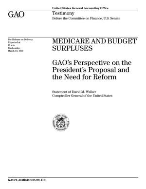 Primary view of object titled 'Medicare and Budget Surpluses: GAO's Perspective on the President's Proposal and the Need for Reform'.
