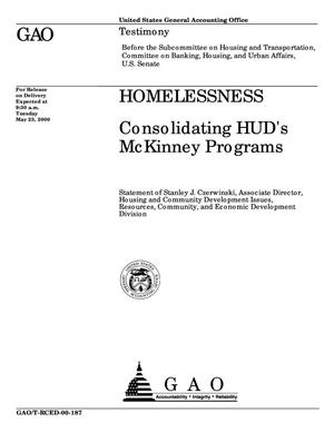 Primary view of object titled 'Homelessness: Consolidating HUD's McKinney Programs'.