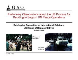 Primary view of object titled 'U.N. Peacekeeping: Observations on the U.S. Process for Approving Operations'.