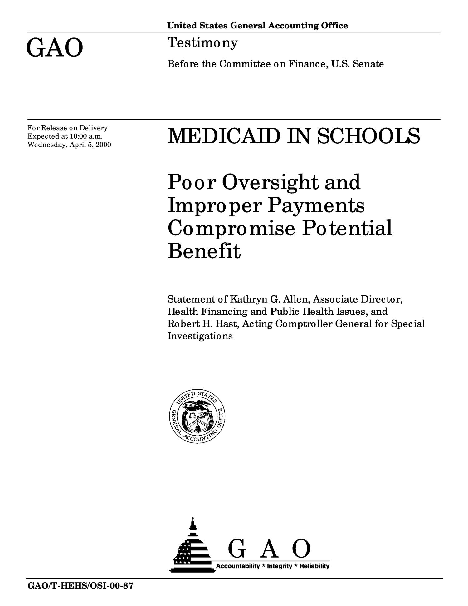 Medicaid in Schools: Poor Oversight and Improper Payments Compromise Potential Benefit                                                                                                      [Sequence #]: 1 of 24