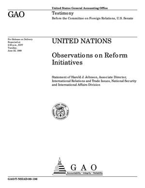 Primary view of object titled 'United Nations: Observations on Reform Initiatives'.