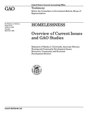 Primary view of object titled 'Homelessness: Overview of Current Issues and GAO Studies'.
