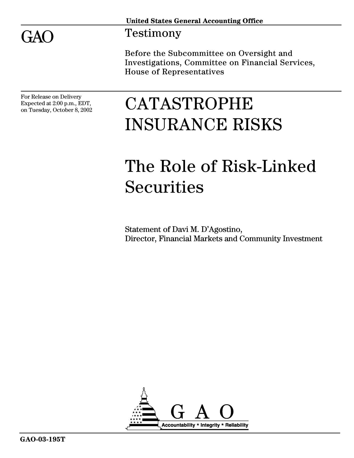 Catastrophe Insurance Risks: The Role of Risk-Linked Securities                                                                                                      [Sequence #]: 1 of 8