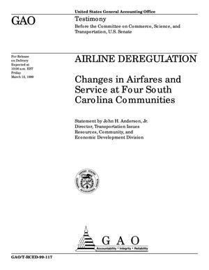 Primary view of object titled 'Airline Deregulation: Changes in Airfares and Service at Four South Carolina Communities'.