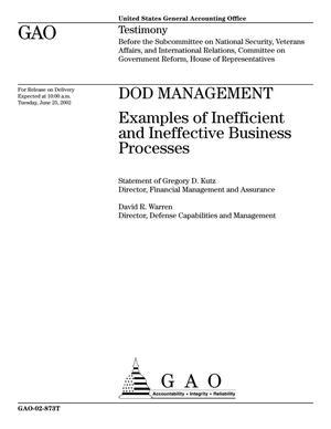 Primary view of object titled 'DOD Management: Examples of Inefficient and Ineffective Business Processes'.
