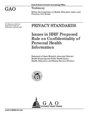 Primary view of object titled 'Privacy Standards: Issues in HHS' Proposed Rule on Confidentiality of Personal Health Information'.