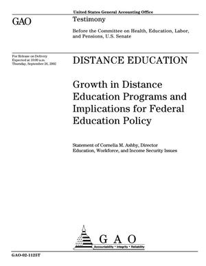 Primary view of object titled 'Distance Education: Growth in Distance Education Programs and Implications for Federal Education Policy'.