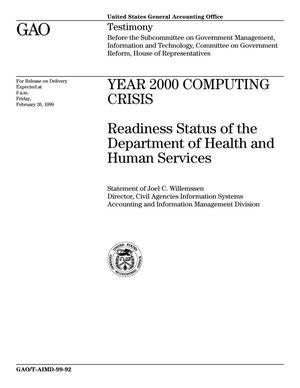 Primary view of object titled 'Year 2000 Computing Crisis: Readiness Status of the Department of Health and Human Services'.