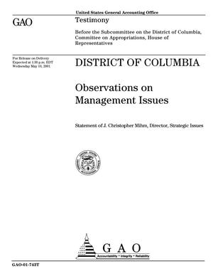 Primary view of object titled 'District of Columbia: Observations on Management Issues'.