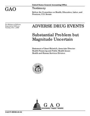 Primary view of object titled 'Adverse Drug Events: Substantial Problem but Magnitude Uncertain'.