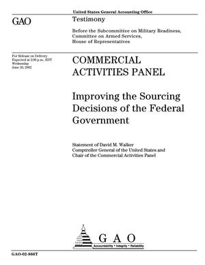 Primary view of object titled 'Commercial Activities Panel: Improving the Sourcing Decisions of the Federal Government'.