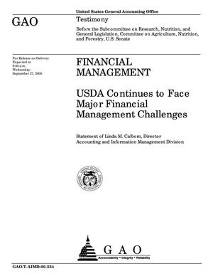 Primary view of object titled 'Financial Management: USDA Continues to Face Major Financial Management Challenges'.
