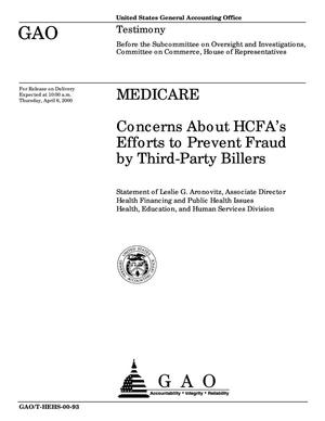 Primary view of object titled 'Medicare: Concerns About HCFA's Efforts to Prevent Fraud by Third-Party Billers'.