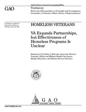 Primary view of object titled 'Homeless Veterans: VA Expands Partnerships, but Effectiveness of Homeless Programs Is Unclear'.