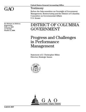 Primary view of object titled 'District of Columbia Government: Progress and Challenges in Performance Management'.