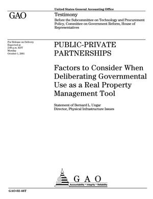 Primary view of object titled 'Public-Private Partnerships: Factors to Consider When Deliberating Governmental Use as a Real Property Management Tool'.