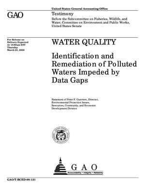 Primary view of object titled 'Water Quality: Identification and Remediation of Polluted Waters Impeded by Data Gaps'.