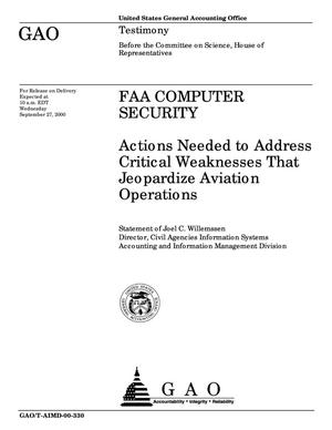 Primary view of object titled 'FAA Computer Security: Actions Needed to Address Critical Weaknesses That Jeopardize Aviation Operations'.