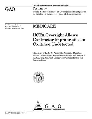 Primary view of object titled 'Medicare: HCFA Oversight Allows Contractor Improprieties to Continue Undetected'.