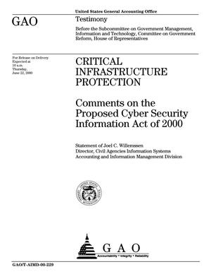 Primary view of object titled 'Critical Infrastructure Protection: Comments on the Proposed Cyber Security Information Act of 2000'.