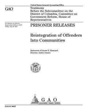 Primary view of object titled 'Prisoner Releases: Reintegration of Offenders Into Communities'.