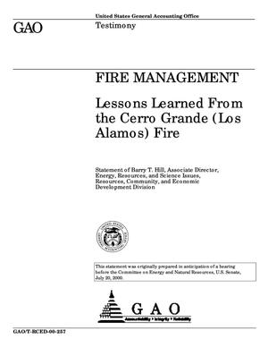 Primary view of object titled 'Fire Management: Lessons Learned From the Cerro Grande (Los Alamos) Fire'.