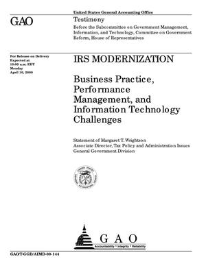 Primary view of object titled 'IRS Modernization: Business Practice, Performance Management, and Information Technology Challenges'.