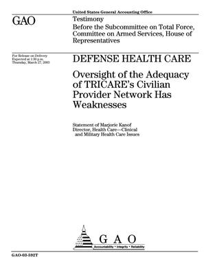Primary view of object titled 'Defense Health Care: Oversight of the Adequacy of TRICARE's Civilian Provider Network Has Weaknesses'.