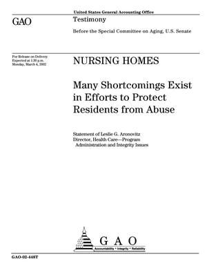 Primary view of object titled 'Nursing Homes: Many Shortcomings Exist in Efforts to Protect Residents from Abuse'.