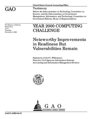 Primary view of object titled 'Year 2000 Computing Challenge: Noteworthy Improvements in Readiness But Vulnerabilities Remain'.
