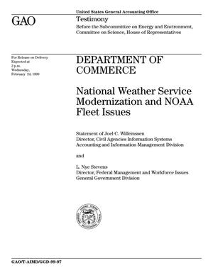 Primary view of object titled 'Department of Commerce: National Weather Service Modernization and NOAA Fleet Issues'.