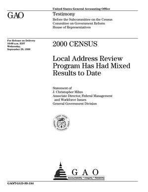 Primary view of object titled '2000 Census: Local Address Review Program Has Had Mixed Results to Date'.