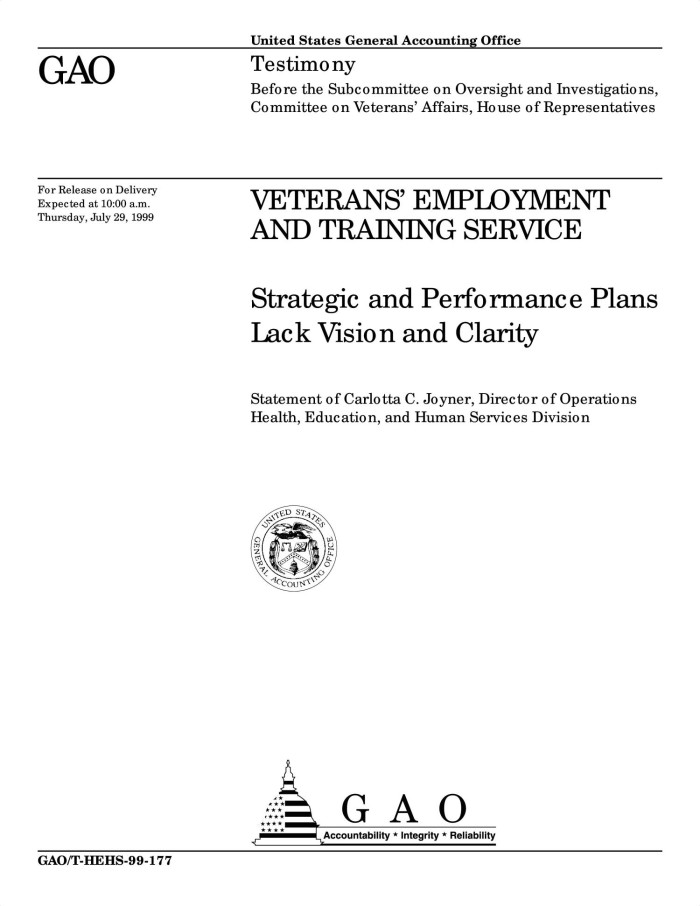 Education Plans Lack Clarity On >> Veterans Employment And Training Service Strategic And