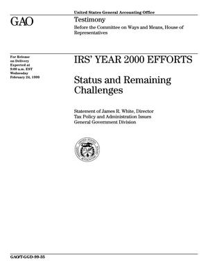 Primary view of object titled 'IRS' Year 2000 Efforts: Status and Remaining Challenges'.