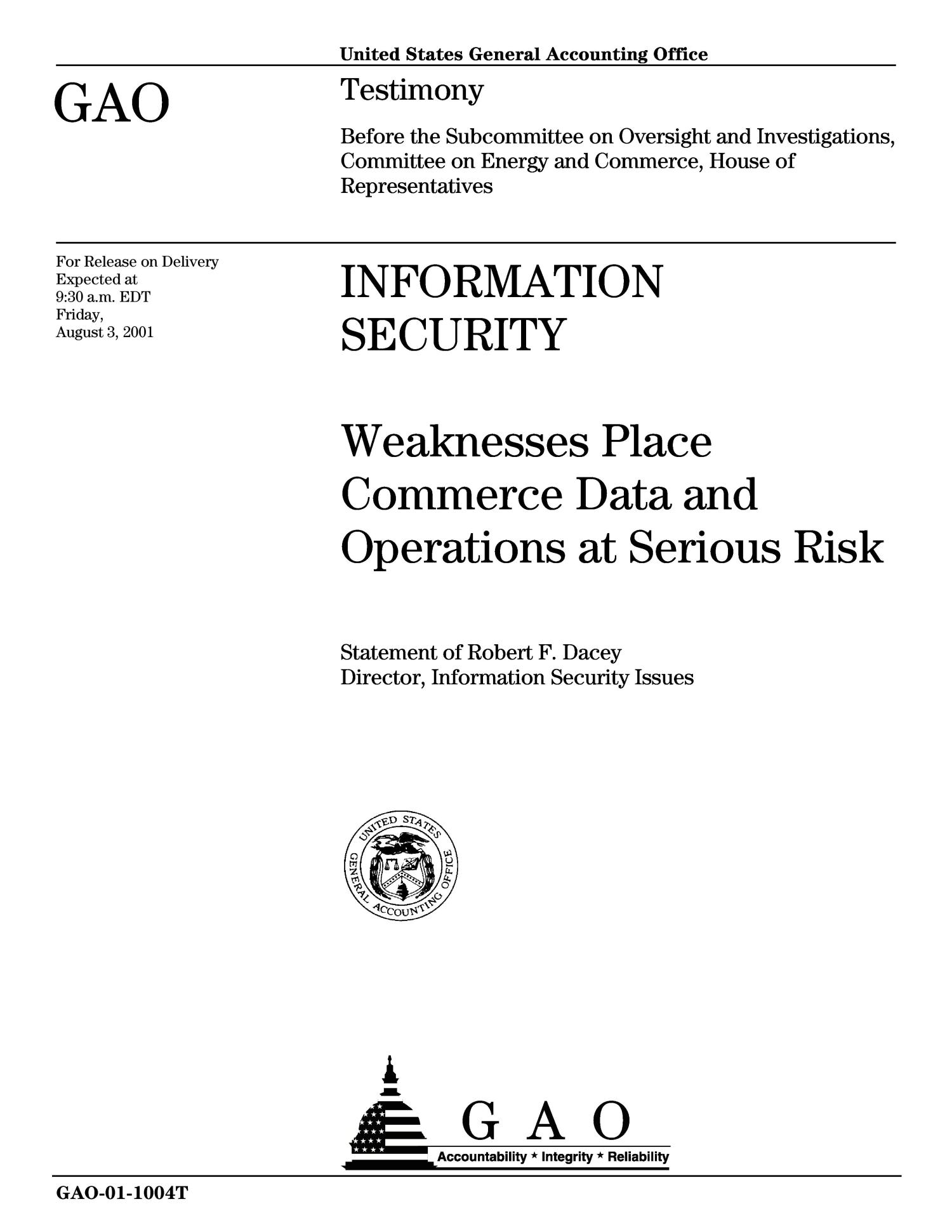 Information Security: Weaknesses Place Commerce Data and Operations at Serious Risk                                                                                                      [Sequence #]: 1 of 37