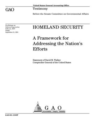 Primary view of object titled 'Homeland Security: A Framework for Addressing the Nation's Efforts'.